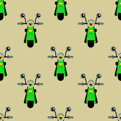 Tapeta Śliczne dzieci wzór motocykla dla dziewcząt i chłopców. Kolorowy wzór motocykl, skuter na abstrakcyjnym jasnym tle stworzyć zabawne kreskówki rysunek. Tło motocykla wykonane jest w kolorach.