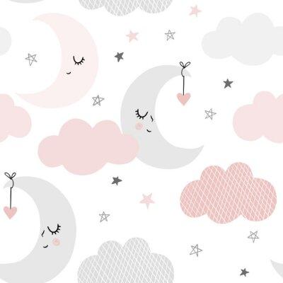 Tapeta Śliczne niebo wzór. Bezszwowe wektor wzór z uśmiechem, spania księżyc, serca, gwiazdy i chmury. Dziecko ilustracja.