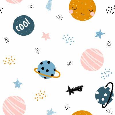 Tapeta Śliczny astronautyczny bezszwowy wzór z ręki rysować planetami i gwiazdami. Modna dziecięca grafika. Ilustracji wektorowych.