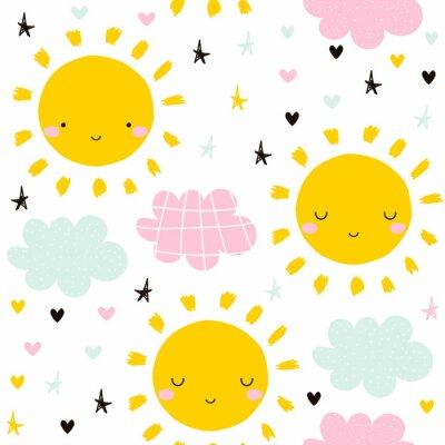 Tapeta Śliczny bezszwowy wzór z słońcem i chmurami. Grafika dla dzieci. Wektorowa ręka rysująca ilustracja.