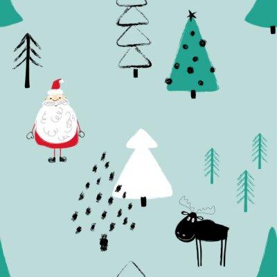 Tapeta Śmieszne Boże Narodzenie Las wzór.