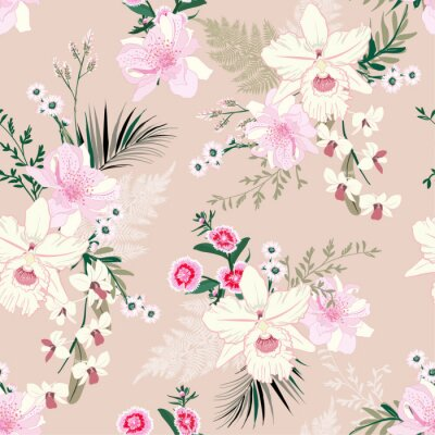 Tapeta Soft and delicate orchid floral garden flower tropical mood ,seamless pattern in vector design for fashion,fabric,wallpaper, and all prints