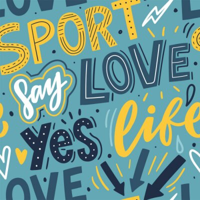 Tapeta Sport hand lettering seamless pattern for print, textile, wallpaper. Modern typography sports background.