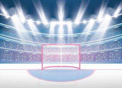 Tapeta Stadion Hokejowy na lodzie z reflektorami i czerwoną bramką.