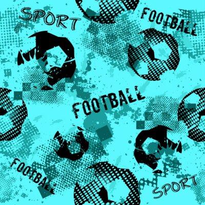 Tapeta Streszczenie bezszwowe wzór piłki nożnej dla chłopców. Wzór sportowy. Grunge sport miejski tło z piłką nożną. Sportowa tapeta na czarnym tle z wielokolorowymi plamami. Powtarzający się wzór.
