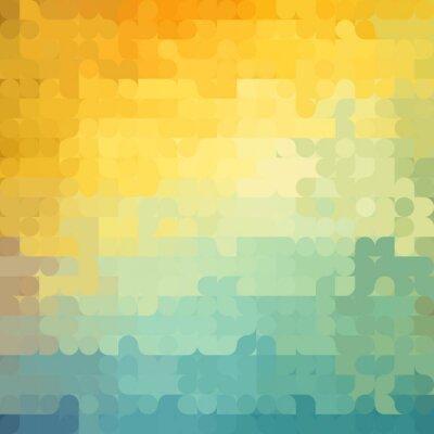 Tapeta Streszczenie geometryczne tło z pomarańczowym, niebieskim i żółtym okręgi. Latem słoneczny wygląd.