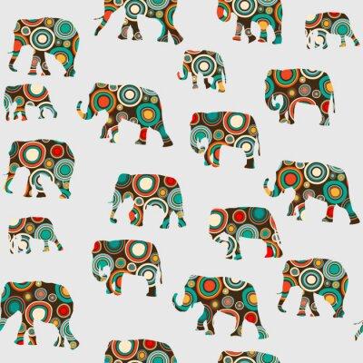 Tapeta Streszczenie kolorowy wzór z słoniami