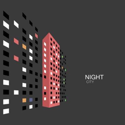 Tapeta Streszczenie noc panorama budynku na ulicy