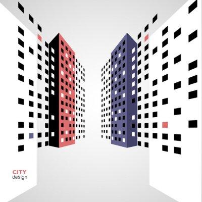 Tapeta Streszczenie panorama kolor budynków na ulicy