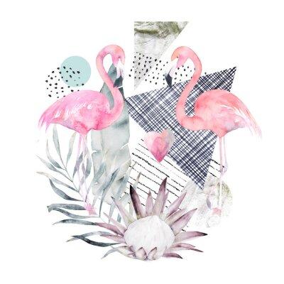 Tapeta Streszczenie plakat geometryczny z flamingo i protea. Latem tropikalny design. R? Cznie rysowane ilustracji