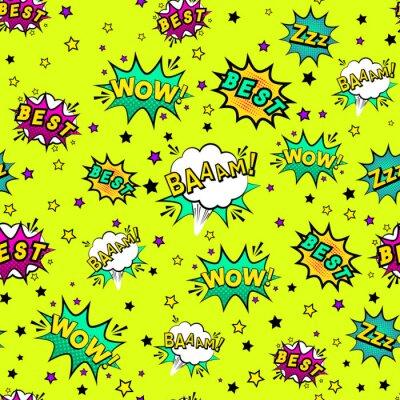 Tapeta Streszczenie szwu wzór dla dziewcząt, chłopców, ubrania. Tło wektor kreatywnych patch z naklejki, bańka wymowy. Zabawna tapeta bąbelkowa wzór na tekstylia i tkaniny. Moda w stylu pop-art.