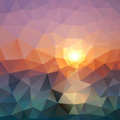 Tapeta Streszczenie trójkątne tła. Jasny wielokąt tekstury morzu o zachodzie słońca na nowoczesnym wzornictwem.