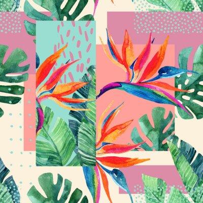 Tapeta Streszczenie tropikalnych letnich wzorów w minimalnym stylu.