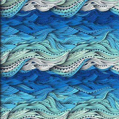 Tapeta Streszczenie wody wzór, ręcznie rysowane fale wektorowe, niebieskim tle fali, morze wzór, EPS 10