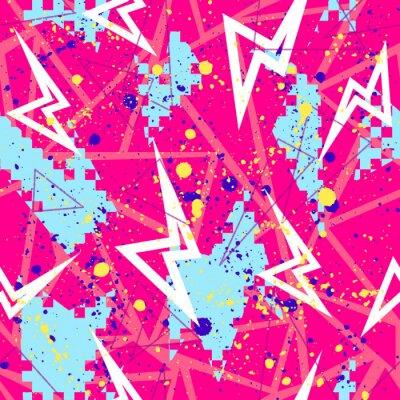 Tapeta Streszczenie wzór dla dziewcząt, chłopców, ubrania. Kreatywne tło z kropkami, figurami geometrycznymi, napisami w paski. Śmieszne tapety na tekstylia i tkaniny. Styl mody. Kolorowe jasne