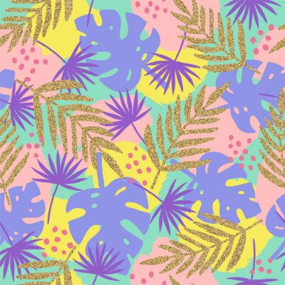 Tapeta Stylowy tropikalny tło z elementami złoty blask. Wektorowa ręka rysujący bezszwowy wzór