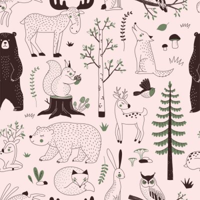 Tapeta Summer Forest seamless vector pattern. Woody landscape with Bear Deer Hare Wolf Moose Fox Owl Squirrel creatures repeatable background. Woodland childish print in Scandinavian decorative style. Cute