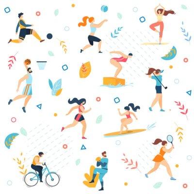 Tapeta Summer Sport Activities Seamless Pattern, Print