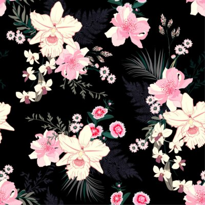 Tapeta Summer Tropical night blooming floral mood seamless vector pattern with exotic orchid flowers, palm leaves, jungle leaf, Botanical wallpaper illustration