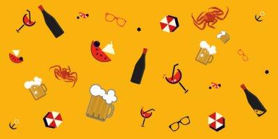 Tapeta Summertime Beach Bar Bezszwowych wzorców ilustracji z koktajle letnich i kufle zimne piwo. Świetnie też jako wzór pubu na plaży.