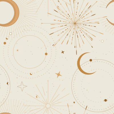 Tapeta Sun and moon tarot sign seamless pattern design , celestial frawing, gold print . Eclipse decorative surface cover, boho tarot sacret geometry frame