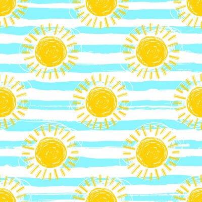 Tapeta Sun wzór bez szwu tła rozłożony. Ręcznie rysowane żółte ikony słońca. Śliczne ręcznie rysowane symbole lato, szkic wektor