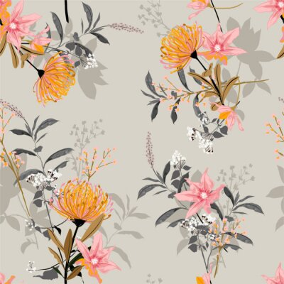 Tapeta Sweet mood and tone of  vintage of botanical blooming garden seamless pattern in vector design for fashion , fabric, wallpaper , wrapping and all prints