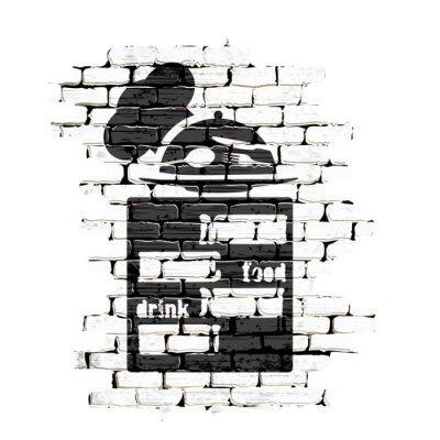 Tapeta szablon okładki menu i wzór ceglany mur
