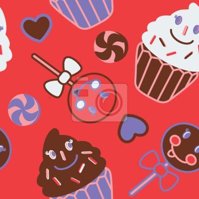 Tapeta Szczęśliwe desery czerwone