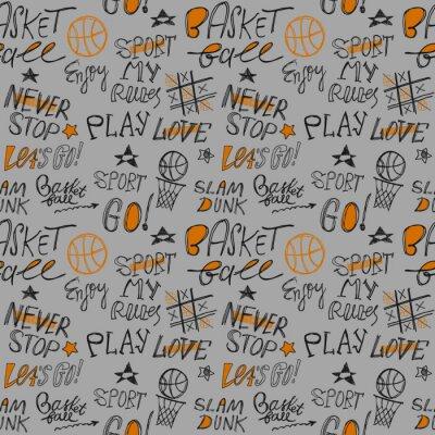 Tapeta Szkic odręczny wzór koszykówki. Napis, hasło typografii. Sportowy nadruk na koszulkach, ubraniach. Ciesz się, graj, idź, kochaj, moje zasady, moc.