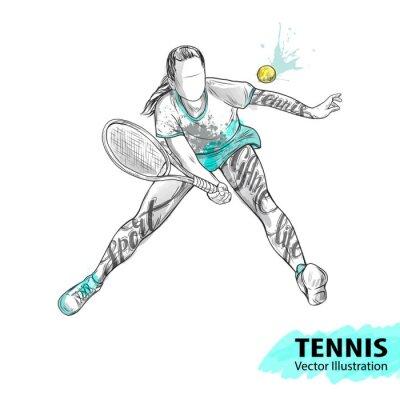 Tapeta Szkic ręczny amerykańskiego tenisisty. Ilustracja wektora sportu. Akwarela sylwetka lekkoatleta ze słowami tematycznymi. Grafika tekstowa, litery. Aktywni ludzie. Styl życia rekreacyjnego.