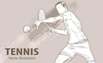 Tapeta Szkic ręczny profesjonalnego tenisisty. Ilustracja wektora sportu. Graficzna sylwetka faceta sportowca na tle projektu. Aktywni ludzie. Styl życia rekreacyjnego.