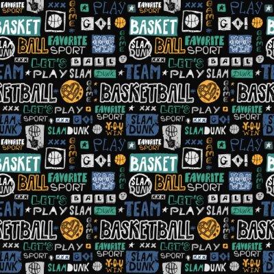 Tapeta Szkic wektor koszykówki wzór. Retro, grunge, rysunek odręczny, ulubiony sport, idź, wygrywasz, slam dunk, zespół. Nadruk na koszulki, banery, ulotki, ubrania dziecięce.