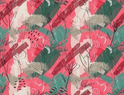 Tapeta Szorstki szkicowany kwiat mniszka lekarskiego różowozielony