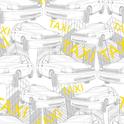 Tapeta taksówką bez szwu wzór