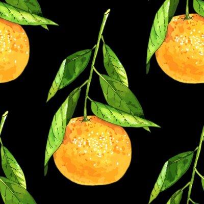 Tapeta Tangerine bez szwu deseń owoców