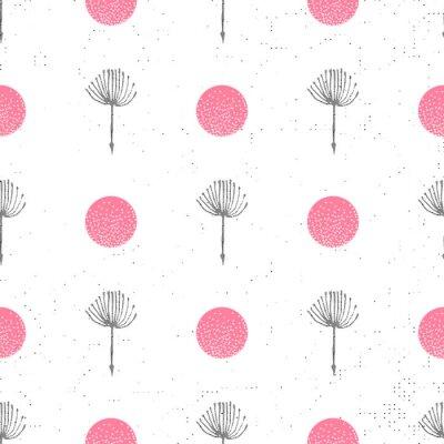 Tapeta Tle kwiatów bez szwu wzór czarno-biały z sylwetka puch dandelion. Piękna przyroda tło. Modna stylowa tapeta. Ilustracji wektorowych