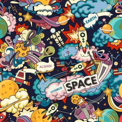 Tapeta Tło wektor kosmosu. Kreskówka bezszwowe tło. Bezszwowy wzór z kreskówek astronautycznymi rakietami, kosmonauta, planety, gwiazdy.