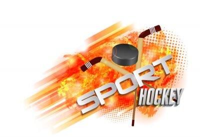 Tapeta tło wektor z hokeja sportowego tekst, sprzęt, kij hokejowy i krążek