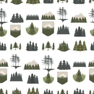 Tapeta Tree outdoor travel pine silhouette coniferous natural tops pine spruce branch cedar seamless pattern stem drawing vector illustration.