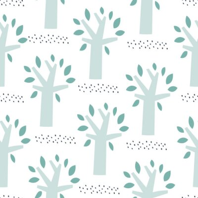 Tapeta Trees vector pattern. Doodle seamless pattern with creative trees. Pattern design for textile or packaging. Pastel colors.