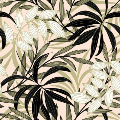 Tapeta Trend abstract seamless pattern with colorful tropical leaves and plants on a delicate background. Vector design. Jungle print. Flowers background. Printing and textiles. Exotic tropics. Fresh design.