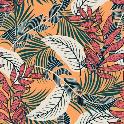 Tapeta Trend seamless pattern with colorful tropical leaves and plants on yellow background. Vector design. Jungle print. Flowers background. Printing and textiles. Exotic tropics. Fresh design.