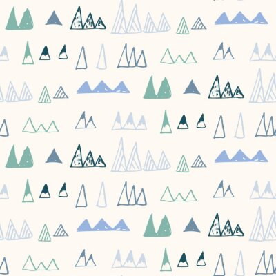 Tapeta Triangles or stylized mountains. Hand drawn vector geometric seamless pattern in pastel colors.