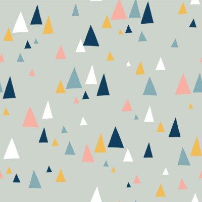Tapeta Trójkąt góry wektor wzór w stylu skandynawskim. Dekoracyjne tło z elementami krajobrazu. Streszczenie tekstura szary, różowy, turkusowy, niebieski, biały. Użyj do tkanin, papieru cyfrowego, dekoracji.