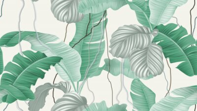 Tapeta Tropical forest seamless pattern, banana leaves and Calathea orbifolia on light brown background, pastel vintage theme