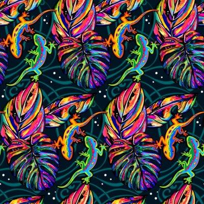 Tapeta Tropical Jednolite wzór z liści i jaszczurki amulticolor