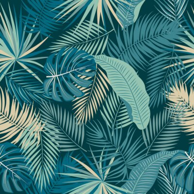 Tapeta Tropical jungle palm leaves seamless pattern
