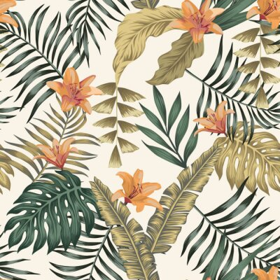 Tapeta Tropical leaves and flowers abstract colors seamless white background