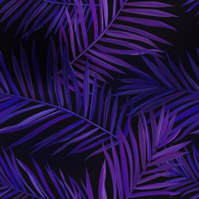 Tapeta Tropical Neon Palm Leaves Seamless Pattern. Jungle Purple Colored Floral Background. Summer Exotic Botanical Foliage Fluorescent Design with Tropic Plants for Fabric Textile. Vector illustration